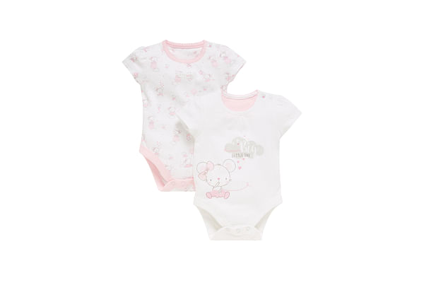 Girls Mouse Print Bodysuits - Pack Of 2