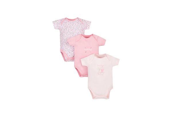 Girls Half Sleeves Bunny Print Bodysuit - Pack Of 3 - Pink