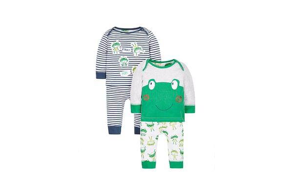 Boys Full Sleeves Frog Print Pyjamas - Pack Of 2 - Green Blue