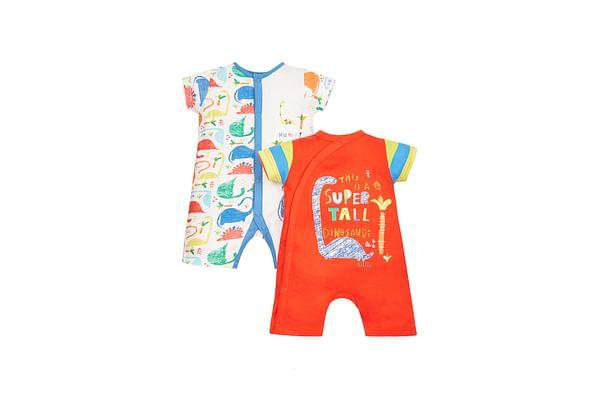 Boys Half Sleeves Dino Print Romper - Pack Of 2 - Multicolor