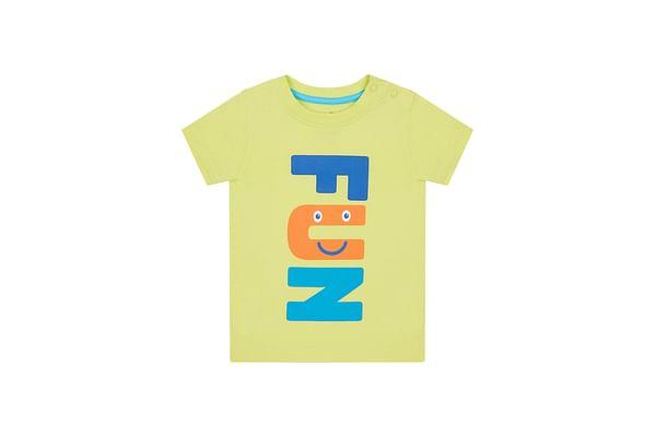 Boys Half Sleeves T-Shirt Text Print - Lime