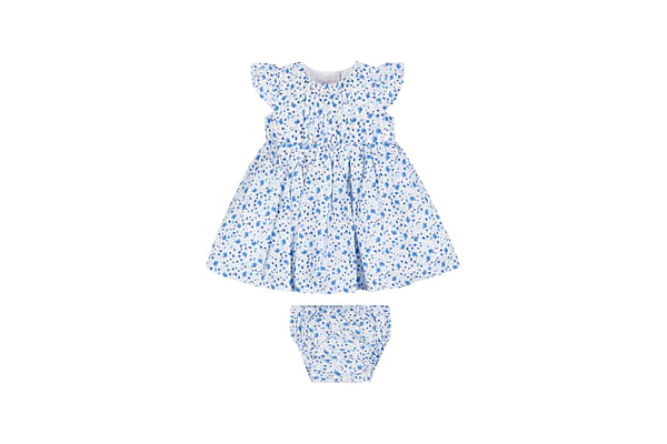 Girls Ditsy Floral Dress And Knickers Set
