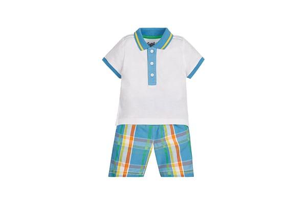 Boys Half Sleeves Polo T-Shirt And Shorts Set - White Blue
