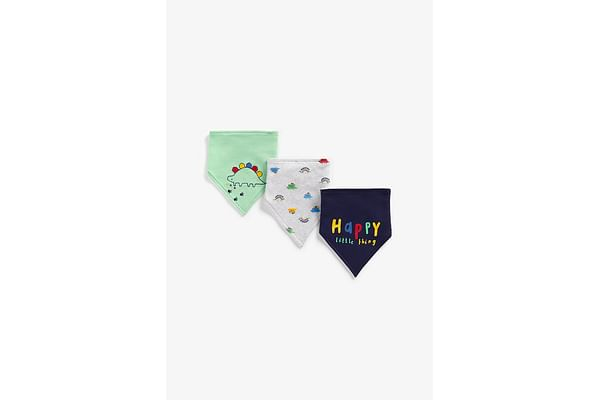 Boys Bibs Dino Embroidery - Pack Of 3 - Multicolor