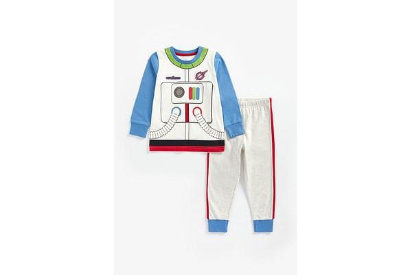 Boys Full Sleeves Pyjama Set Astronaut Suit Print - Multicolor