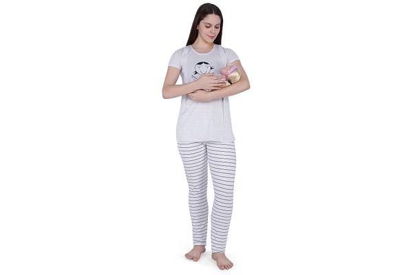 Women Short Sleeve Nightsuit - Off White