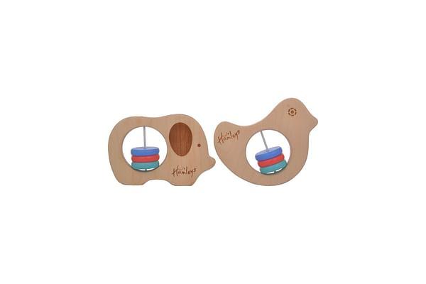 Hamleys Elephant And Bird Rattle Set, Brown