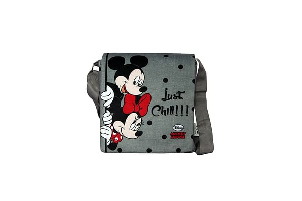 Disney Happiness Unisex Zipper Closure Mickey Mouse Printed Sling Bag_Grey_Free Size
