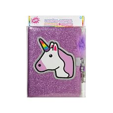3C4G Unicorn Glitter Locking Journal With Feather Pen