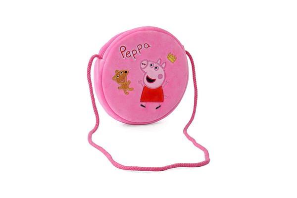 Peppa Pig With Bear Round Plush Sling Bag 16 Cm