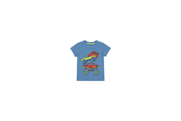 Boys Half Sleeves T-Shirt Monster Truck Print - Blue