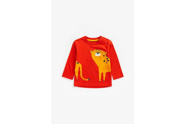 Boys Full Sleeves T-Shirt Cheetah Print - Red