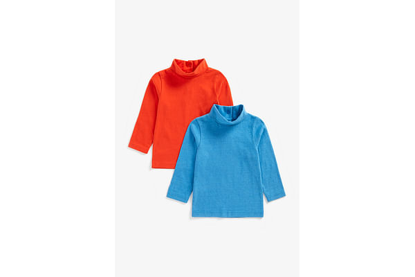 Boys Full Sleeves Roll Neck Tops - Pack Of 2 - Multicolor
