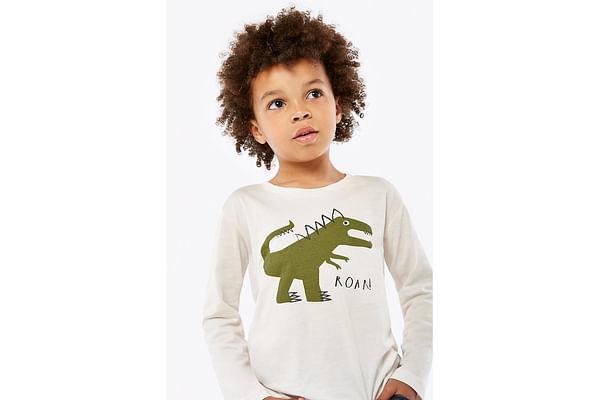 Boys Full Sleeves T-Shirt Dino Print - White