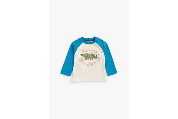 Boys Full Sleeves T-Shirt Sequined Dino Design - White