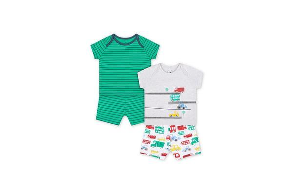 Boys Half Sleeves Shortie Pyjama Set Vehicle Print - Pack Of 2 - Green White