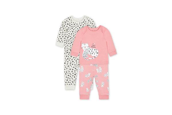 Girls Full Sleeves Pyjama Set Leopard Print - Pack Of 2 - Pink Cream