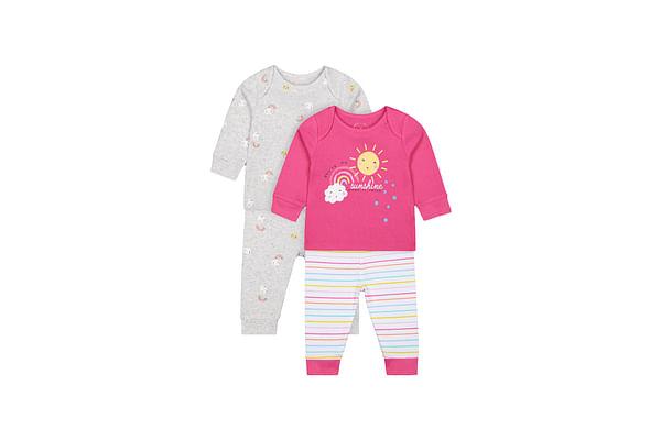 Girls Full Sleeves Pyjama Set Text Print - Pack Of 2 - Grey Pink