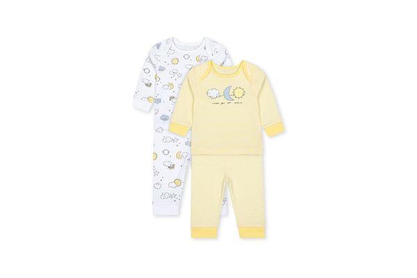 Unisex Full Sleeves Pyjama Set Weather Print - Pack Of 2 - Yellow Cream