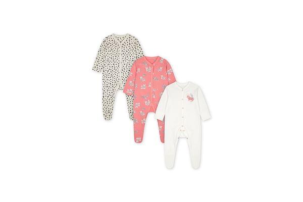 Girls Full Sleeves Sleepsuit Leopard Print - Pack Of 3 - Pink White