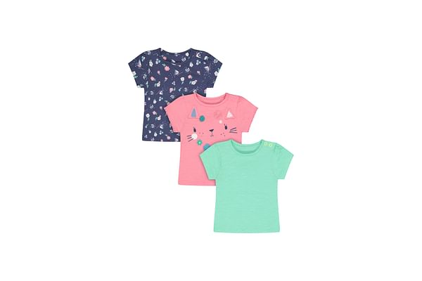 Girls Half Sleeves T-Shirt Cat Patchwork - Pack Of 3 - Multicolor