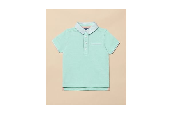 Boys Half Sleeves Polo T-shirt - Aqua