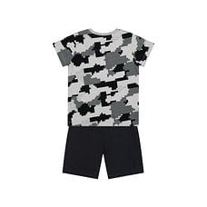 Boys Half Sleeves T-Shirt And Shorts Set Pixel Print - Grey Black