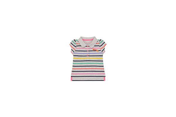 Girls Half Sleeves Polo T-Shirt Striped - Multicolor