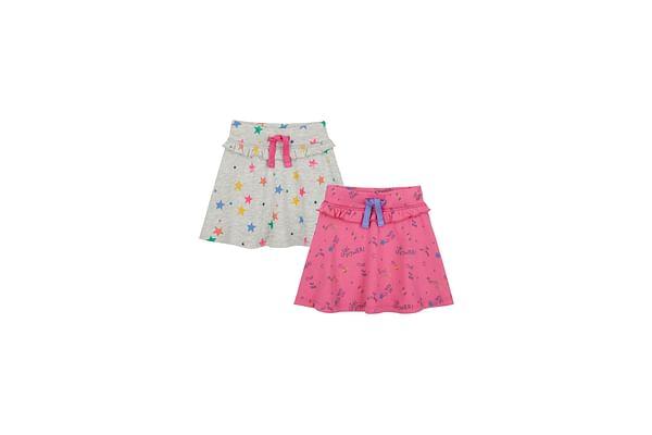 Girls Skirt Printed - Pink Grey