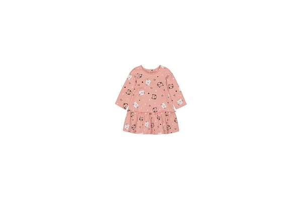 Girls Full Sleeves Dress Cat Print - Pink