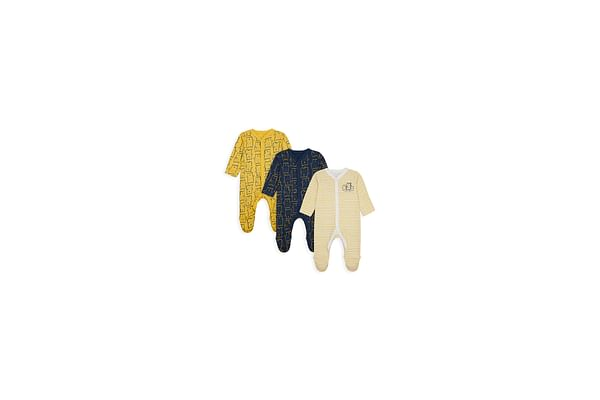 Boys Full Sleeves Sleepsuit Striped And Bear Print - Pack Of 3 - Multicolor