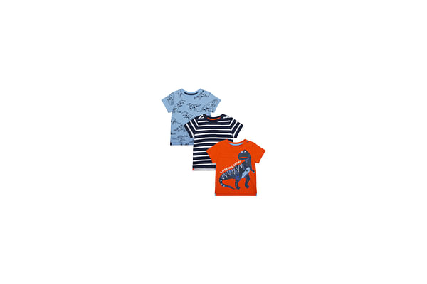 Boys Half Sleeves T-Shirt Stripe And Dino Print - Pack Of 3 - Multicolor