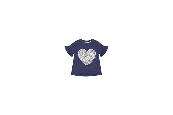 Girls Half Sleeves T-Shirt Heart Print - Navy