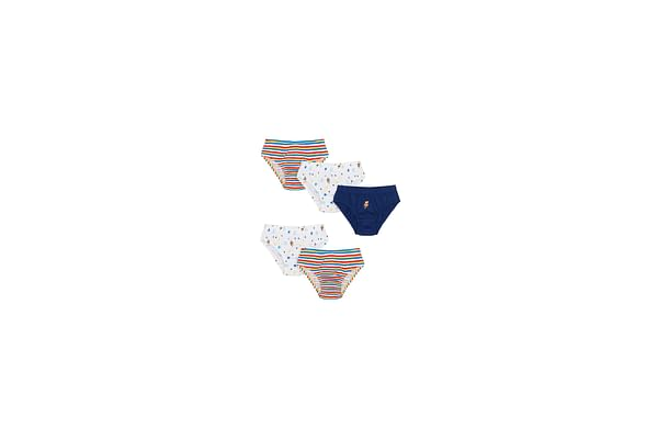 Boys Briefs Striped And Printed - Pack Of 5 - Multicolor