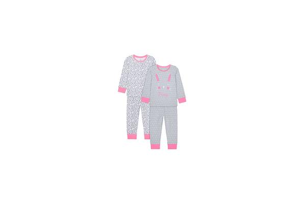 Girls Full Sleeves Pyjama Set Bunny Patchwork - Pack Of 2 - Grey Pink