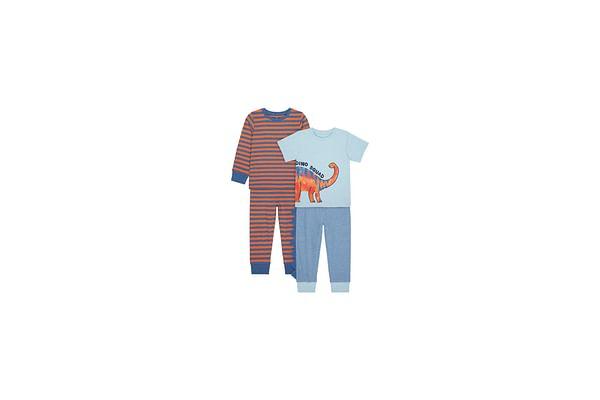 Boys Full Sleeves Pyjama Set 3D Dino Spikes - Pack Of 2 - Blue Red