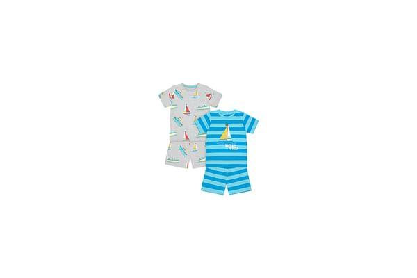 Boys Half Sleeves Shortie Pyjama Set Stripe And Boat Print - Pack Of 2 - Blue Grey