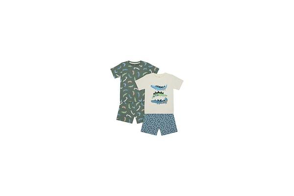 Boys Half Sleeves Shortie Pyjama Set Crocodile Embroidery - Pack Of 2 - Multicolor