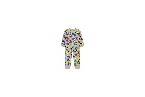 Boys Full Sleeves Pyjama Set Truck Print - Grey