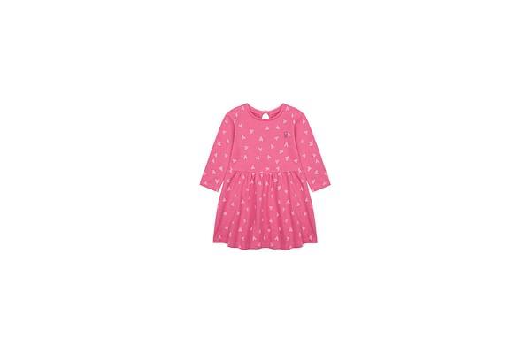 Girls Full Sleeves Dress Heart Print - Pink