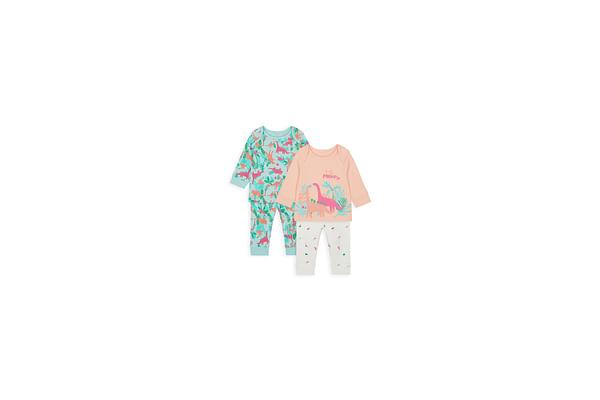 Girls Full Sleeves Pyjama Set Dino Print - Pack Of 2 - Multicolor