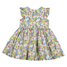 Girls Half Sleeves Floral Print Dress - Multicolor