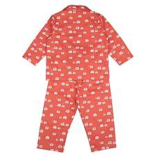 Unisex Full sleeves Elephant print Pyjamas - Orange