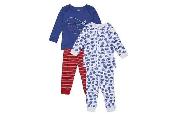 Boys Full sleeves Whale print Pyjamas - Pack of 2 - Blue red