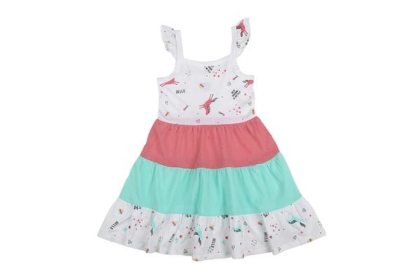 Girls Sleeveless Unicorn print Tiered dress - Multicolor