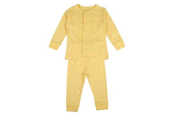 Girls Full sleeves Butterfly print Pyjamas - Pack of 2 - Yellow grey