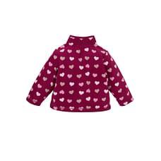 Girls Full Sleeves Fleece Jacket Heart Design - Pink