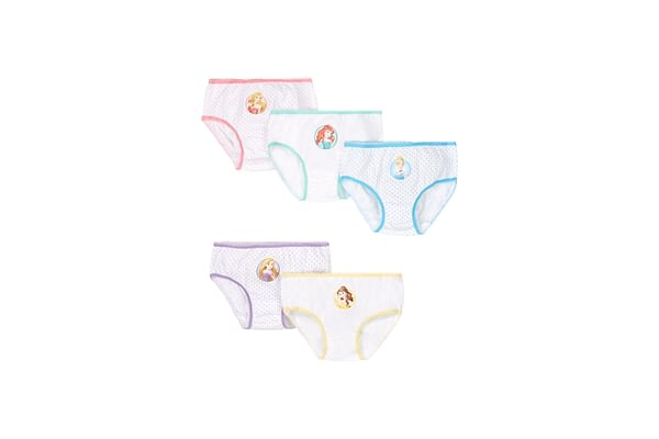 Girls Briefs Disney Princess Print - Pack Of 5 - White