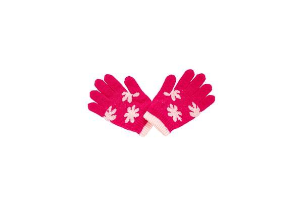 Girls Gloves Flower Design - Pink