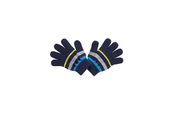 Boys Gloves Stripes - Navy